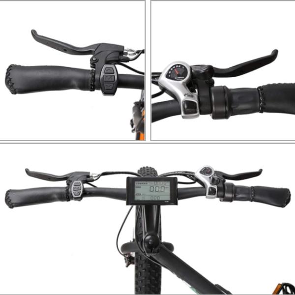 Fat Bike électrique modèle KS-26 – Guidon, poignées et affichage numérique